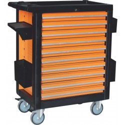 Montážní vozík na nářadí kovový vybavený 10 zásuvek