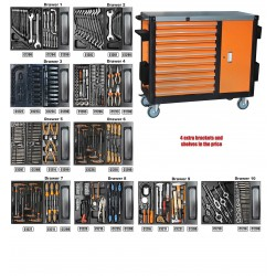 Montážní vozík na nářadí  10 zásuvek vybavený 386 ks CORONA EXCLUSICE