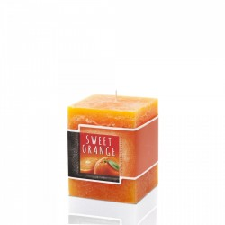 BARTEK CANDLES Svíčka rustikální vonná hranol 70x70x90 mm - Orange