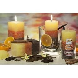 BARTEK CANDLES Svíčka rustikální vonná hranol 70x140mm - valilka, orange, čokoláda