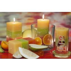 BARTEK CANDLES Svíčka rustikální vonná hranol 70x140mm - meloun, tropické ovoce, orange