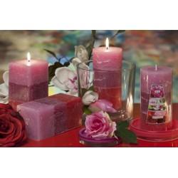 BARTEK CANDLES Svíčka rustikální vonná hranol 70x140mm - pivoňˆka, magnolie, růže