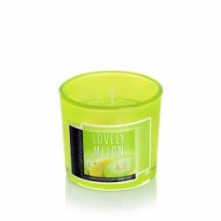 BARTEK CANDLES Svíčka vonná v barevném skle 7,5 x 6,5cm, Nature Candle - Lovely Melon