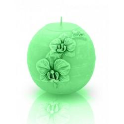 BARTEK CANDLES Svíčka dekorativní zdobená reliéfem Orchidej - koule  80 mm