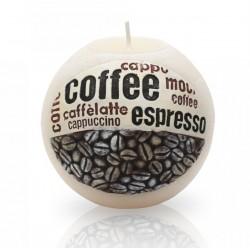 BARTEK CANDLES Svíčka dekorativní zdobená reliéfem Coffee Time - koule  100 mm - Bílá