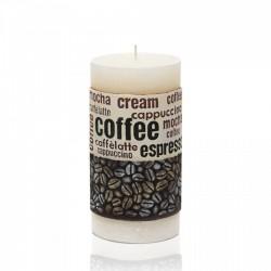 BARTEK CANDLES Svíčka dekorativní zdobená reliéfem Coffee Time - válec 70x140 mm - Bílá