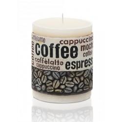 BARTEK CANDLES Svíčka dekorativní zdobená reliéfem Coffee Time - válec 70x90 mm - Bílá