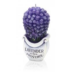BARTEK CANDLES Svíčka dekorativní zdobená reliéfem Lavender BOUTIQUE - kytice 90x60x140 mm