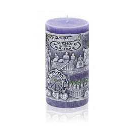 BARTEK CANDLES Svíčka dekorativní zdobená reliéfem Lavender BOUTIQUE - válec  70x140 mm
