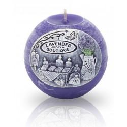 BARTEK CANDLES Svíčka dekorativní zdobená reliéfem Lavender BOUTIQUE - koule 100 mm