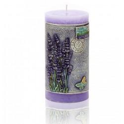BARTEK CANDLES Svíčka dekorativní zdobená reliéfem Lavender Provence - válec  70x140 mm