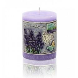 BARTEK CANDLES Svíčka dekorativní zdobená reliéfem Lavender Provence - válec 70x90 mm