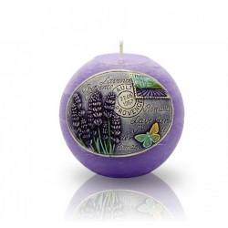 BARTEK CANDLES Svíčka dekorativní zdobená reliéfem Lavender Provence - koule  100mm