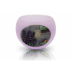 BARTEK CANDLES Svíčka dekorativní zdobená reliéfem Lavender Provence - lampion koule 120 mm