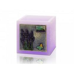 BARTEK CANDLES Svíčka dekorativní zdobená reliéfem Lavender Provence - lampion kvádr 110x105 mm