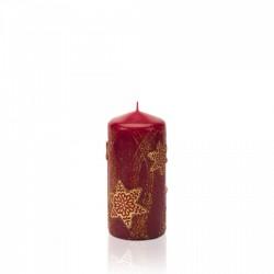 BARTEK-CANDLES Svíčka dekorativní CHRISTMAS STARS - válec 60x130 mm  - Bordó