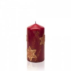 BARTEK-CANDLES Svíčka dekorativní CHRISTMAS STARS - válec 70x150 mm - Bordó