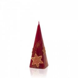 BARTEK-CANDLES Svíčka dekorativní CHRISTMAS STARS - pyramida 50x50x150 mm - Bordó