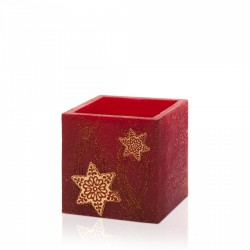 BARTEK-CANDLES Svíčka dekorativní CHRISTMAS STARS - lampion kvádr 110x105 mm - Bordó