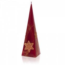 BARTEK-CANDLES Svíčka dekorativní CHRISTMAS STARS - pyramida 70x70x240mm - Bordó