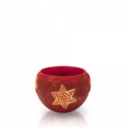 BARTEK-CANDLES Svíčka dekorativní CHRISTMAS STARS - lampion koule 120mm - Bordó