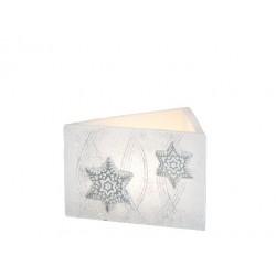 BARTEK-CANDLES Svíčka dekorativní CHRISTMAS STARS - lampion trojhran 160x95 mm - Bílá