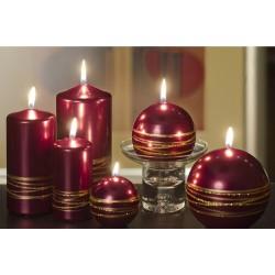 BARTEK-CANDLES Svíčka dekorativní GOLDEN RINGS - válec 70x150 mm - Červená metalíze