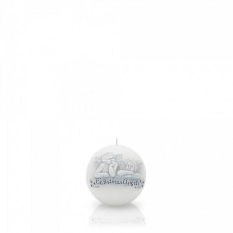 BARTEK-CANDLES Svíčka dekorativní CHRISTMAS ANGELS - koule ? 80 mm - Bílá