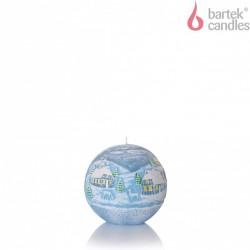BARTEK-CANDLES Svíčka dekorativní WINTER S DIODOU - koule ? 100 mm - Modrá