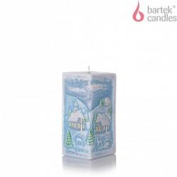 BARTEK-CANDLES Svíčka dekorativní WINTER S DIODOU - hranol  70x70x140 mm - Modrá