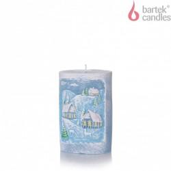 BARTEK-CANDLES Svíčka dekorativní WINTER S DIODOU - Ovál 100x140 mm - Modrá