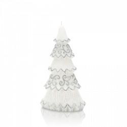 BARTEK-CANDLES Svíčka dekorativní FESTIVAL TREE - vánoční stromek 210 mm - Bílá