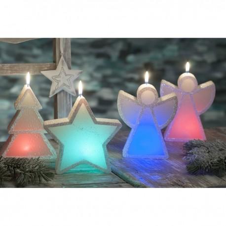 BARTEK-CANDLES Svíčka dekorativní vánoční figurka - Anděl/stromek/hvězda  S DIODOU - MIX