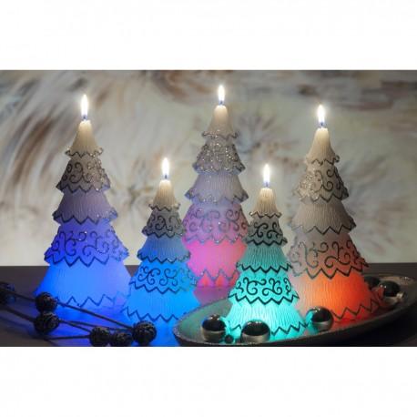BARTEK-CANDLES Svíčka dekorativní FESTIVAL TREE S DIODOU - vánoční stromek 160mm