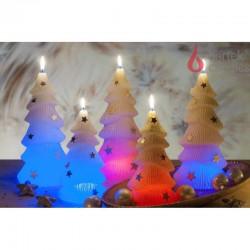BARTEK-CANDLES Svíčka dekorativní CHRISTMAS TREE S DIODOU - vánoční stromek 160mm - Bílá