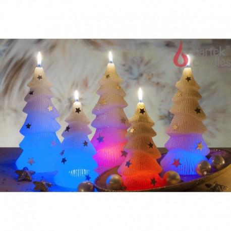 BARTEK-CANDLES Svíčka dekorativní CHRISTMAS TREE S DIODOU - vánoční stromek 210mm - Bílá