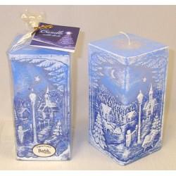 BARTEK-CANDLES Svíčka dekorativní ZIMNÍ KRAJINA S DIODOU - hranol 70x140mm - Modrá