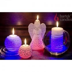 BARTEK-CANDLES Svíčka dekorativní  FESTIVAL S DIODOU - vánoční koule 80mm - Bílá