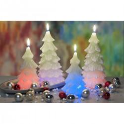 BARTEK-CANDLES Svíčka dekorativní vánoční strom - CHRTISTMAS TREE s DIODOU 80x150 mm - Bílá