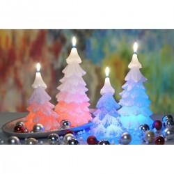 BARTEK-CANDLES Svíčka dekorativní vánoční strom - CHRTISTMAS TREE s DIODOU 110x210 mm - Bílá