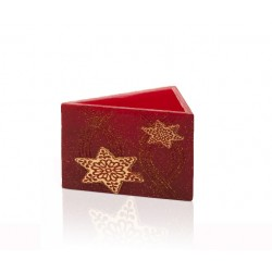 BARTEK-CANDLES Svíčka dekorativní CHRISTMAS STARS - lampion trojhran 160x95 mm - Bordó