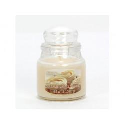 CANDLE-LITE ESSENTIALS Svíčka dekorativní ve skleněné dóze - Creamy Vanilla Swirl  85g