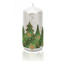 BARTEK-CANDLES Svíčka dekorativní  MAGIC TREE - válec 60x130 mm - Červemá metalíze