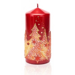 BARTEK-CANDLES Svíčka dekorativní  MAGIC TREE - válec 70x150 mm - Červemá metalíze