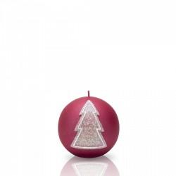 BARTEK-CANDLES Svíčka dekorativní WINTER TREE - koule ? 100 mm - Bordó