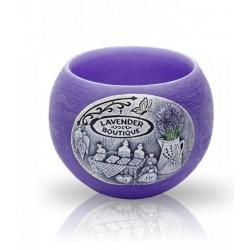 BARTEK CANDLES Svíčka dekorativní zdobená reliéfem Lavender BOUTIQUE - lampion 120mm