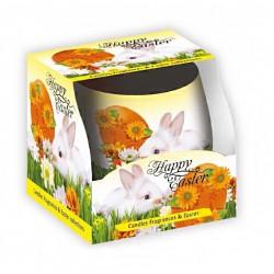 BARTEK CANDLES Svíčka velikonoční ve skle Happy Eastern - Easter bunny