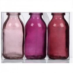 Dekorativní lahvičky Sada 3 dekor. - odstíny růžové SandraRich