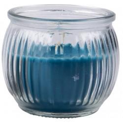 Svíčka vonná v barevném skle 6,3 x 7,1 cm - Modrá