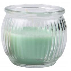 Svíčka vonná v barevném skle 6,3 x 7,1 cm - Modro-zelená